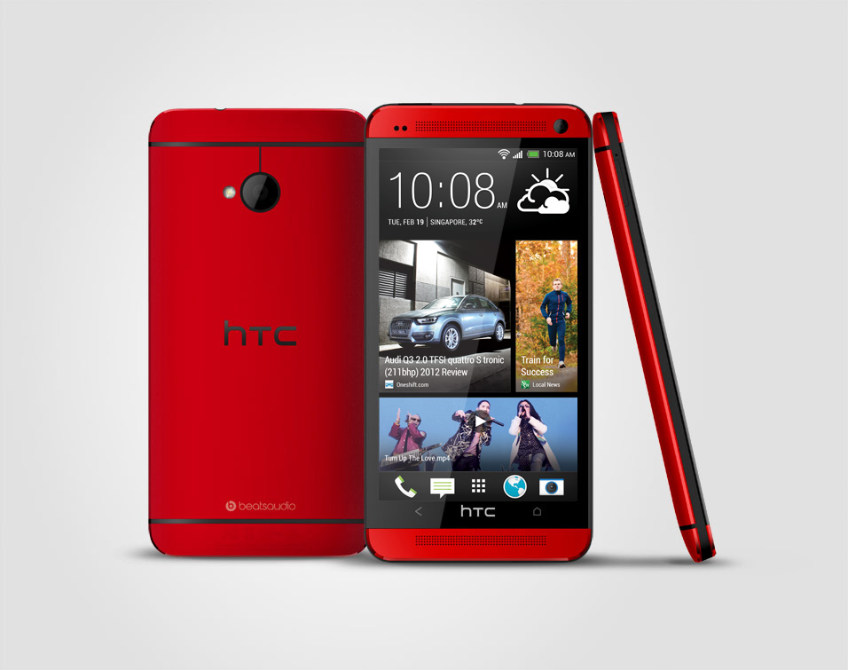 red-htc-one